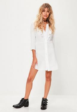 White Frill Front Shirt Dress