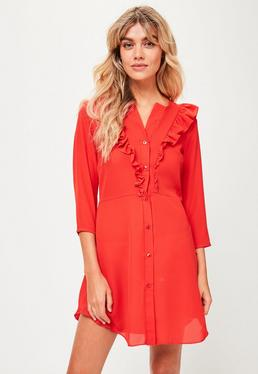 Red Frill Front Shirt Dress