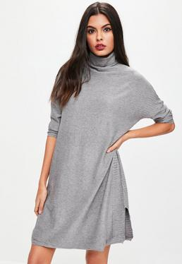 Grey Oversized Knitted Dress