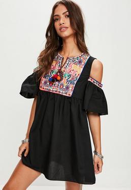 Black Cold Shoulder Embroidered Smock Dress