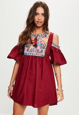 Burgundy Cold Shoulder Embroidered Smock Dress