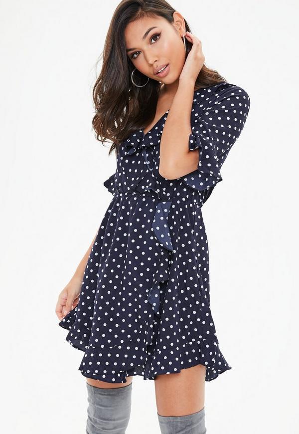 Navy Polka Dot Wrap Dress Missguided