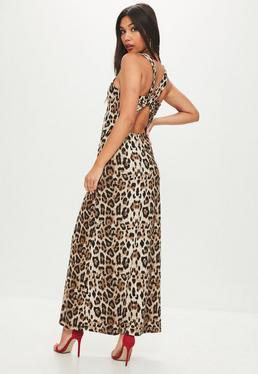 Vestido largo con estampado leopardo en marrón
