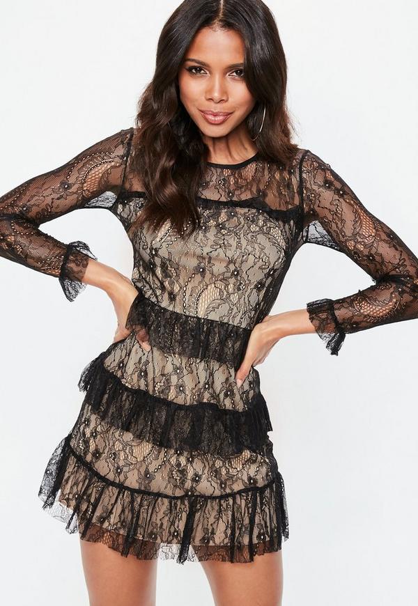 Black Lace Ruffle Dress Missguided