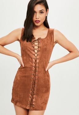 Brown Lace Up Faux Suede Dress