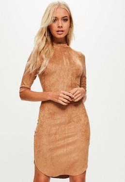 Beige High Neck faux Suede Dress