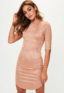 Brown High Neck Faux Suede Dress