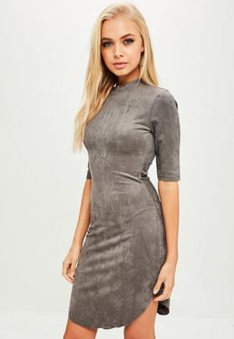 Grey High Neck faux Suede Dress