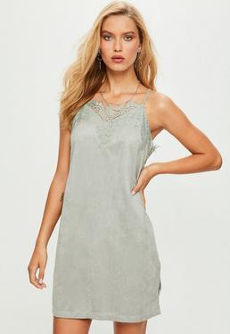 Gray Suedette Lace Trim Slip Dress