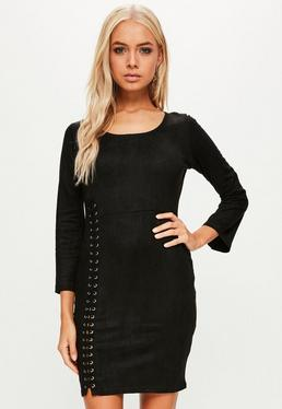 Black Faux Suede Eyelet Dress