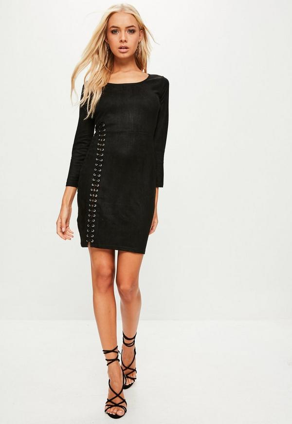 Black Faux Suede Eyelet Dress | Missguided