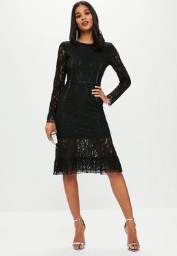 Vestido midi de encaje en negro