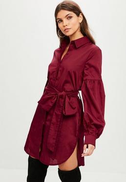 Burgundy Puff Sleeve Shirt Dress