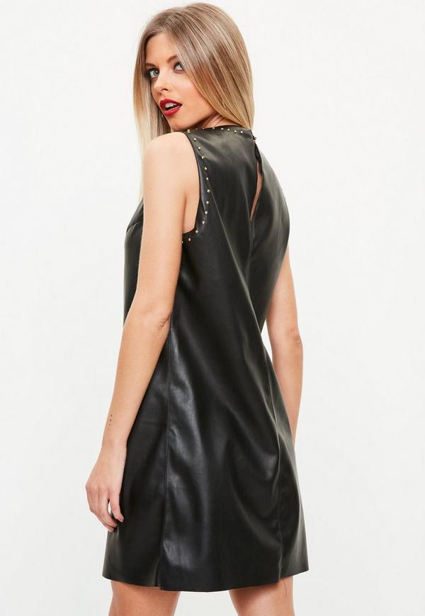Black Studded Faux Leather Shift Dress Missguided