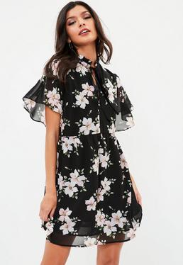 Black Tie Front Floral Tea Dress