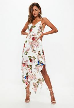 Cream Floral Print Asymmetric Hem Midi Dress