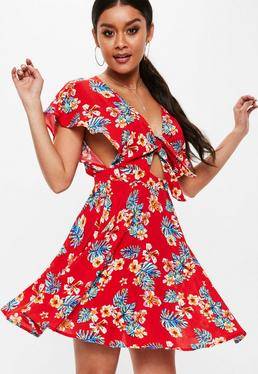 Red Tie Front Floral Print Dress