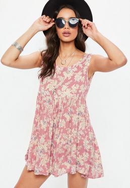 Pink Floral Print Sleeveless Smock Dress