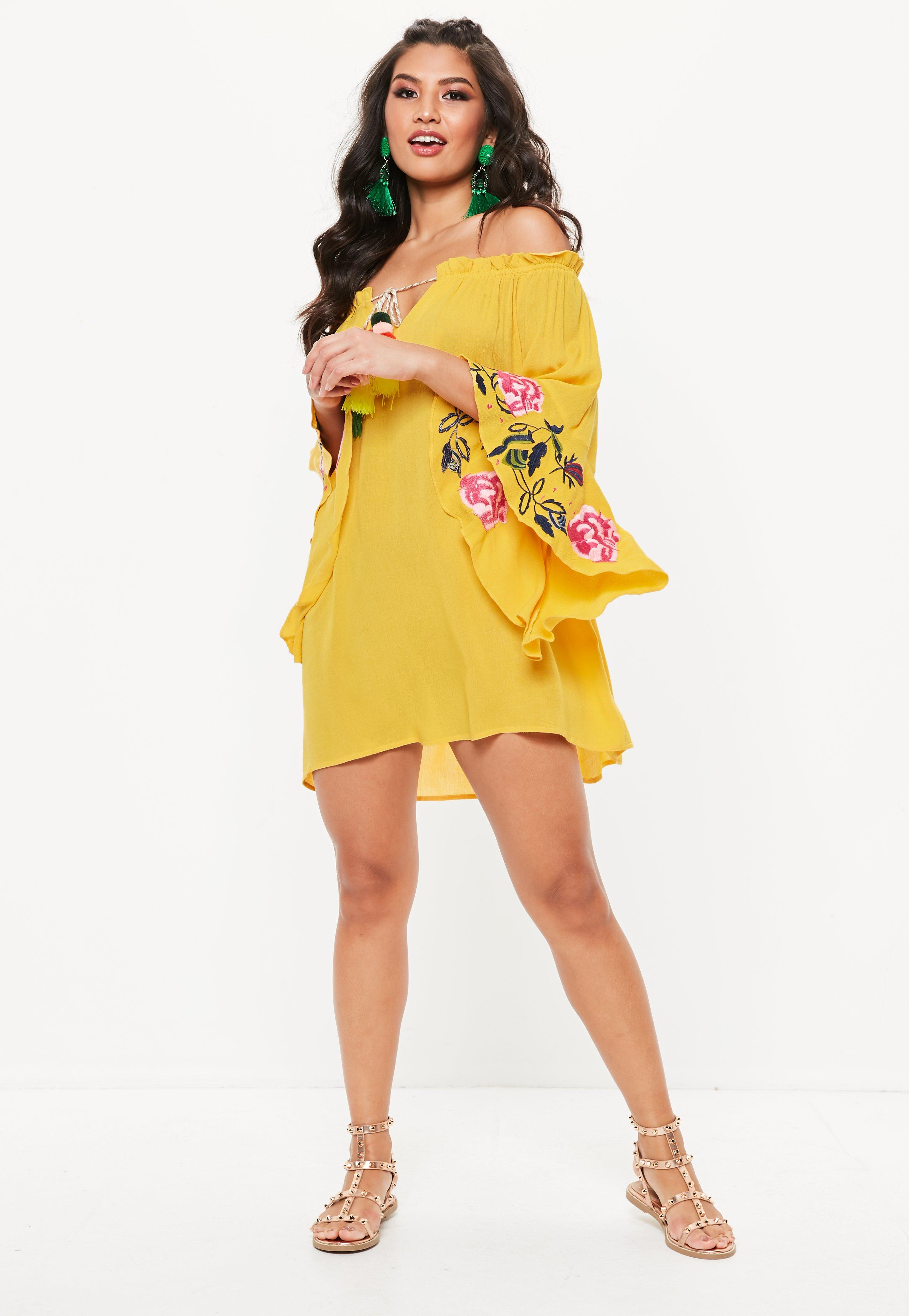 New Arrival Missguided Bardot Embroidered Sleeve Tassel Dress Fashion Style Choice Footaction Sale Online UNCvRsv