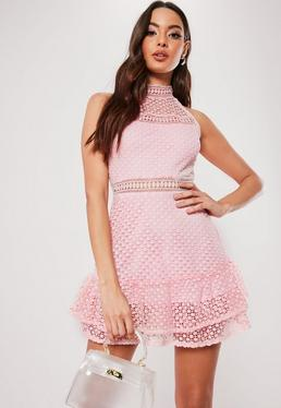 beccfdb614 Black Tiered Lace High Neck Skater Dress · Blush Lace High Neck Skater Dress