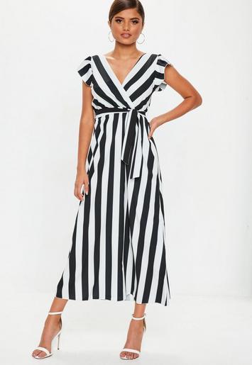 Black Monochrome Stripe Maxi Dress Missguided