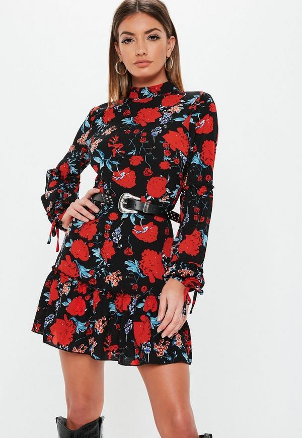 0512e9c63d3 Black Floral High Neck Frill Mini Dress