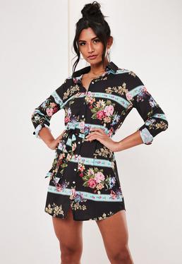 0a1a6926af Black Floral Belted Shirt Dress