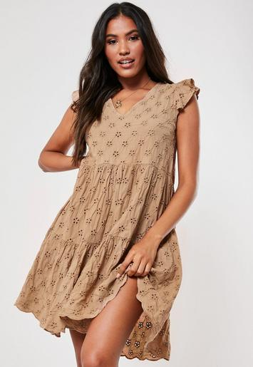 Camel Broderie Smock Dress by Missguided