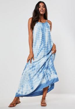 Платье макси с синим галстуком