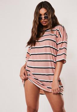Свободное платье-футболка в полоску Nude