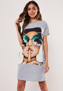 Серое платье-футболка Oversize Girl в очках