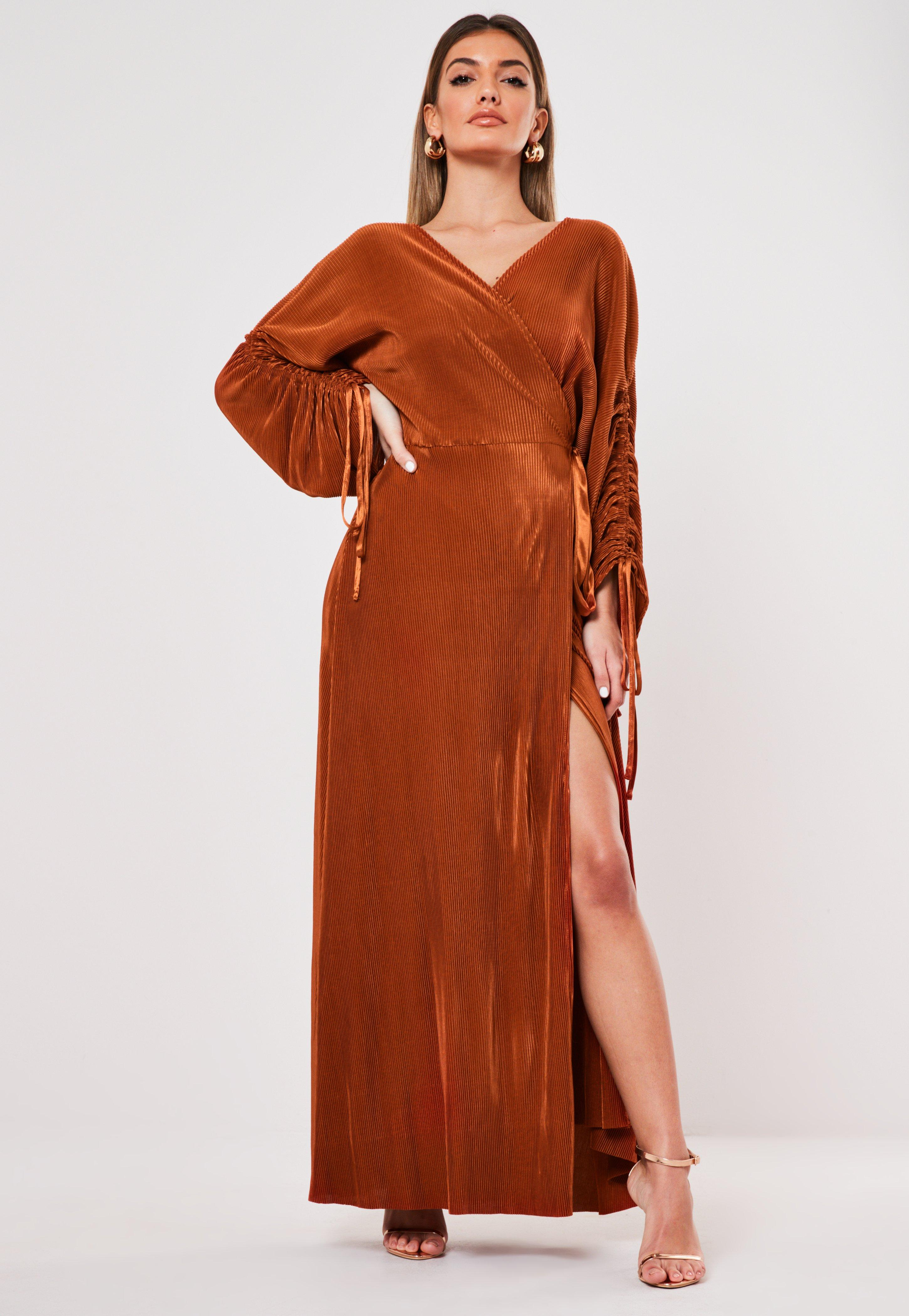 Rust Plisse Ruched Wrap Maxi Dress