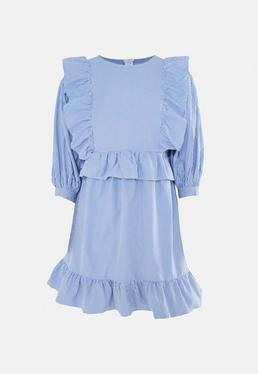 Blue Stripe Frill Puff Sleeve Dress