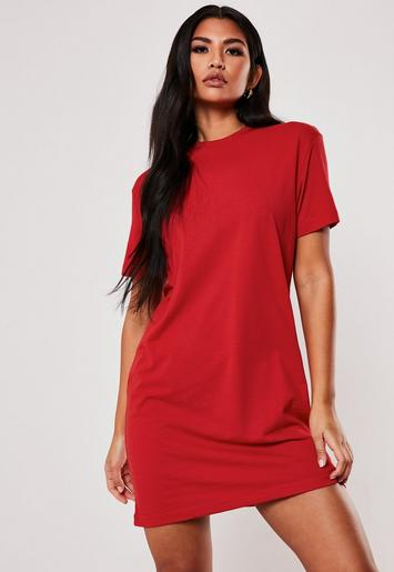 Red Basic T Shirt Dress Missguided