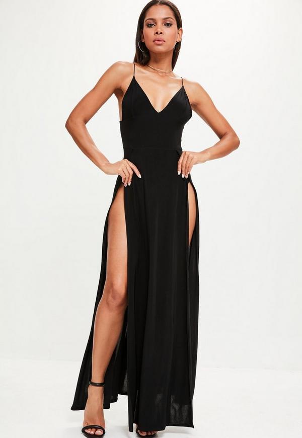 Black Thigh Split Slinky Maxi Dress Missguided