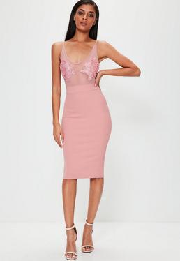 Pink Mesh Embroidered Midi Dress