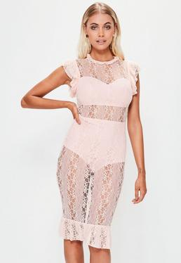 Pink Short Sleeve Lace Midi Dress