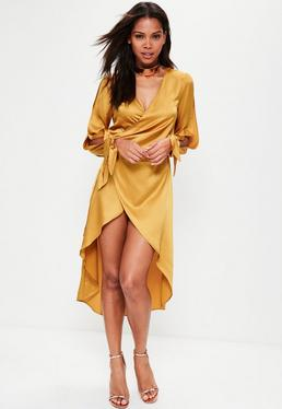 Orange Wrap Split Sleeve Satin Maxi Dress