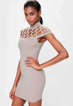 Nude High Neck Cut Out Boydcon Dress