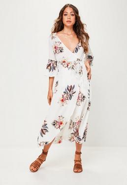 White Floral Printed Kimono Sleeve Midi Dress