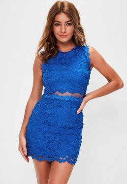 Blue Lace Cut Out Mini Dress