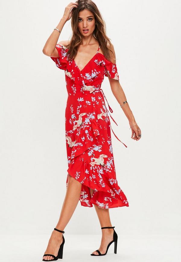 Red Bird Print Frill Front Midi Dress
