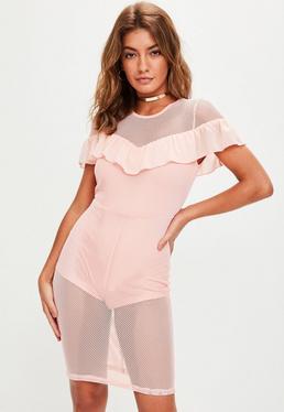 Pink Mesh Pencil Midi Dress