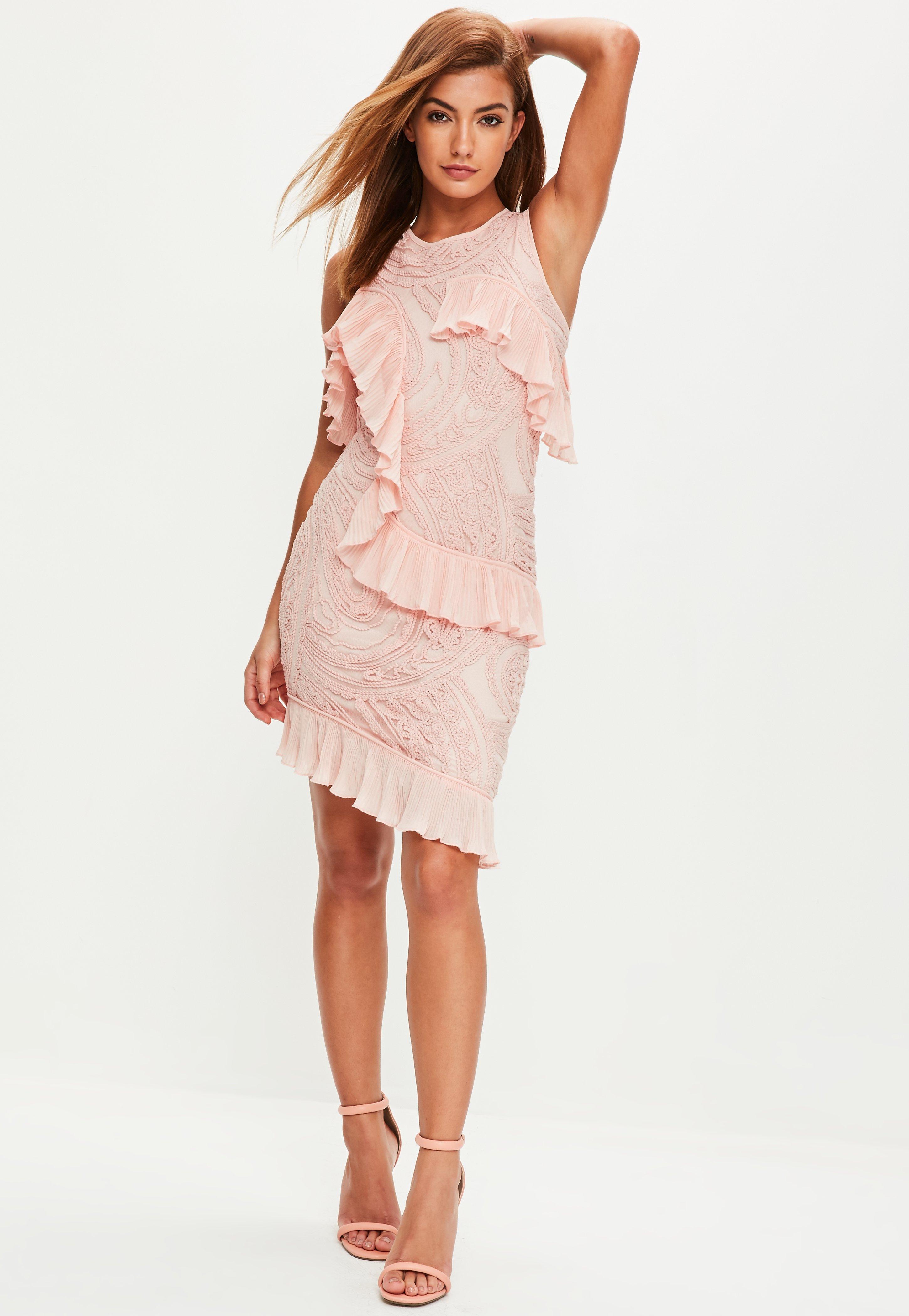 Pink Frill Midi Dress | Missguided Australia