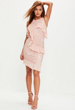 Pink Frill Midi Dress