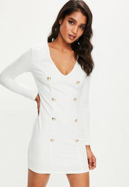 Cream Button Front Military Dress