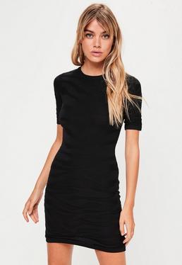 Black Animal Textured Bodycon Dress