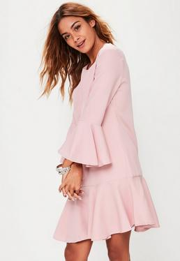 Pink Frilled Trim Shirt Dress