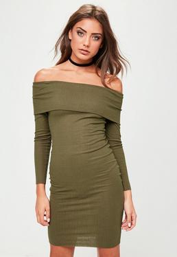 Khaki Bardot Bodycon Dress