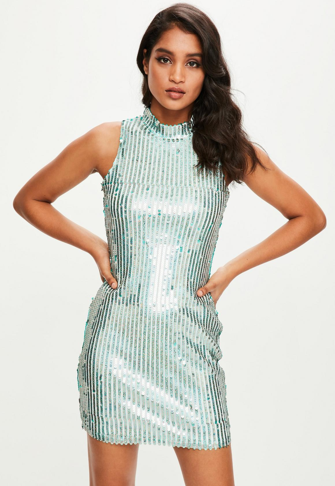 Green Sequin Striped High Neck Dress   Missguided